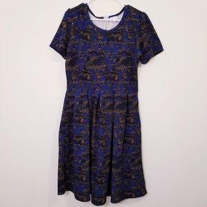 Lularoe 2X Amelia Dress Blue/Yellow summer POCKETS